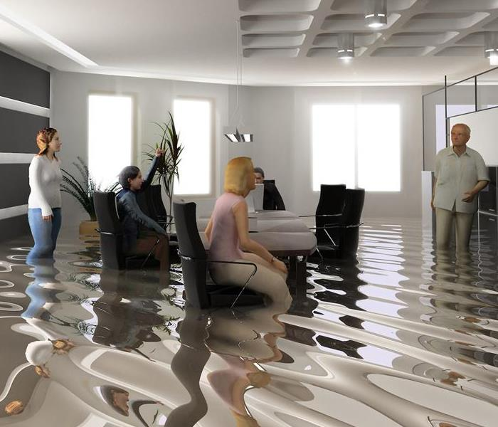 Flooded Office with Dirty Water